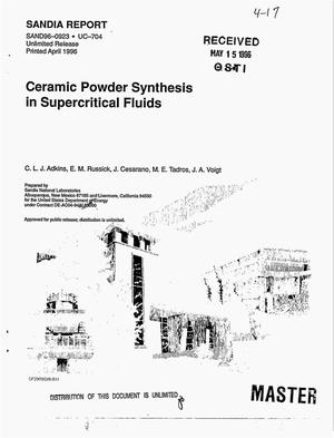Primary view of object titled 'Ceramic powder synthesis in supercritical fluids'.