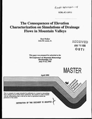 Primary view of object titled 'The consequences of elevation characterization on simulations of drainage flows in mountain valleys'.