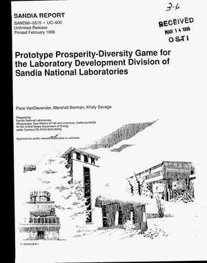 Primary view of object titled 'Prototype prosperity-diversity game for the Laboratory Development Division of Sandia National Laboratories'.
