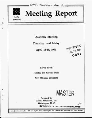 Primary view of object titled 'LLW Forum meeting report, April 18--19, 1991'.
