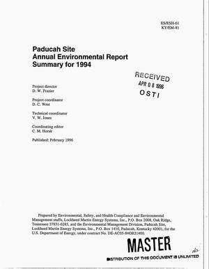Primary view of object titled 'Paducah Site annual environmental report summary for 1994'.