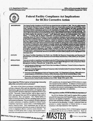 Primary view of object titled 'Federal Facility Compliance Act implications for RCRA corrective action'.
