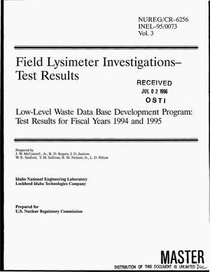 Primary view of object titled 'Field Lysimeter Investigations - test results: Low-Level Waste Data Base Development Program: Test results for fiscal years 1994-1995'.