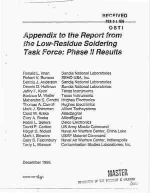 Primary view of object titled 'Appendix to the report from the low-residue soldering task force: Phase 2 results'.