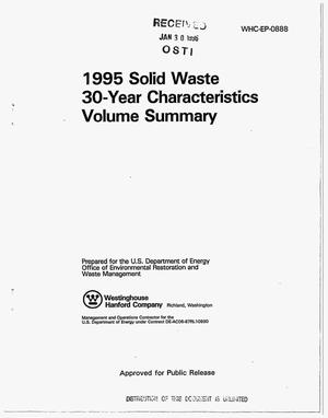 Primary view of object titled '1995 solid waste 30-year characteristics volume summary'.