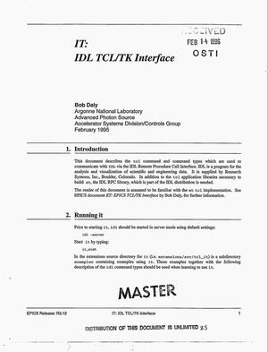 Primary view of object titled 'IT: IDL TCL/TK Interface'.