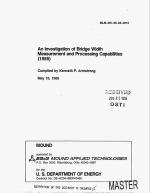 Primary view of object titled 'An investigation of bridge width measurement and processing capabilities (1985)'.