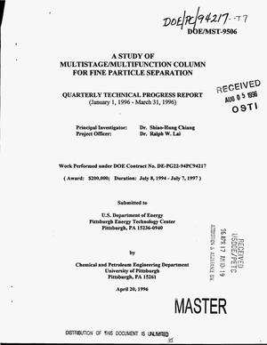 Primary view of object titled 'A study of multistage/multifunction column for fine particle separation. Quarterly technical progress report, January 1, 1996-- March 31, 1996'.