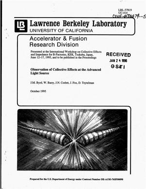 Primary view of object titled 'Observations of collective effects at the Advanced Light Source'.