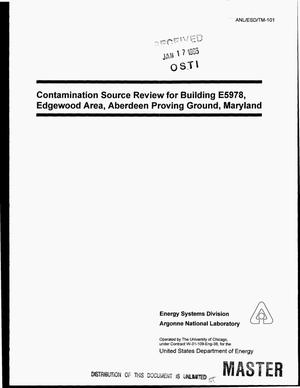 Primary view of object titled 'Contamination source review for Building E5978, Edgewood Area, Aberdeen Proving Ground, Maryland'.
