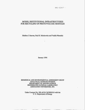 Primary view of object titled 'Model institutional infrastructures for recycling of photovoltaic modules'.