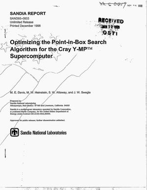 Primary view of object titled 'Optimizing the Point-In-Box Search Algorithm for the Cray Y-MP(TM) Supercomputer'.