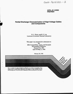 Primary view of object titled 'Partial discharge characterization of high-voltage cables and components'.