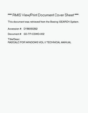 Primary view of object titled 'Radcalc for Windows. Volume 2: Technical manual'.