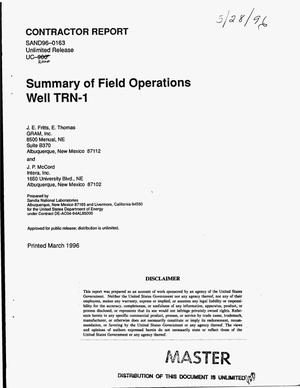 Primary view of object titled 'Summary of field operations, well TRN-1'.