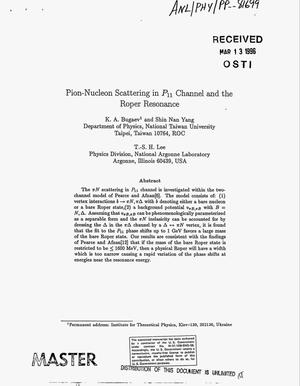 Primary view of object titled 'Pion-nucleon scattering in P{sub 11} channel and the Roper resonance'.