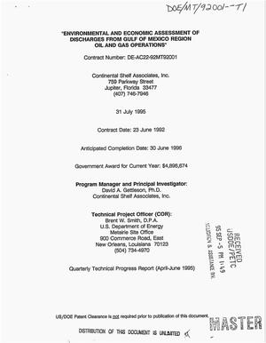 Primary view of object titled 'Environmental and economic assessment of discharges from Gulf of Mexico region oil and gas operations. Quarterly technical progress report, April 1995--June 1995'.