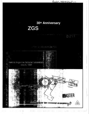 Primary view of object titled 'Symposium on the 30th anniversary of the ZGS startup: Proceedings'.