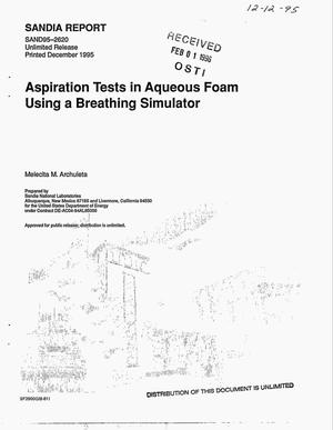 Primary view of object titled 'Aspiration tests in aqueous foam using a breathing simulator'.