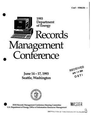 Primary view of object titled '1993 Department of Energy Records Management Conference'.