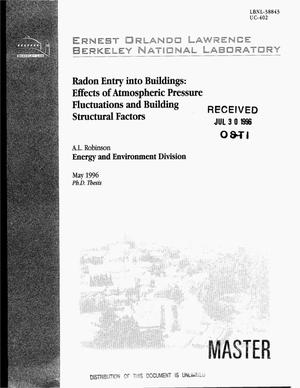 Primary view of object titled 'Radon entry into buildings: Effects of atmospheric pressure fluctuations and building structural factors'.