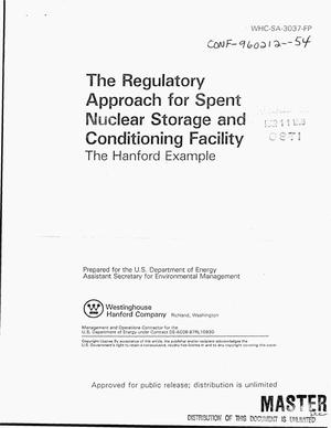 Primary view of object titled 'The regulatory approach for spent nuclear storage and conditioning facility: The Hanford example'.