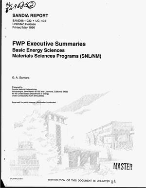 Primary view of object titled 'FWP executive summaries: Basic energy sciences materials sciences programs'.