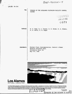 Primary view of object titled 'Upgrade of the Los Alamos Plutonium Facility control system'.