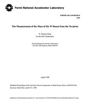 Primary view of object titled 'The measuremnt of the mass of the W boson from the Tevatron'.