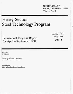 Primary view of object titled 'Heavy-Section Steel Technology Program: Semiannual progress report for April--September 1994. Volume 11, Number 2'.
