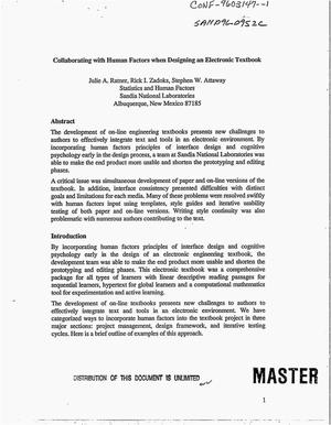 Primary view of object titled 'Collaborating with human factors when designing an electronic textbook'.