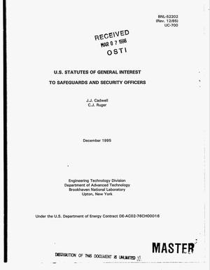 Primary view of object titled 'US statutes of general interest to safeguards and security officers. Revision 12/95'.