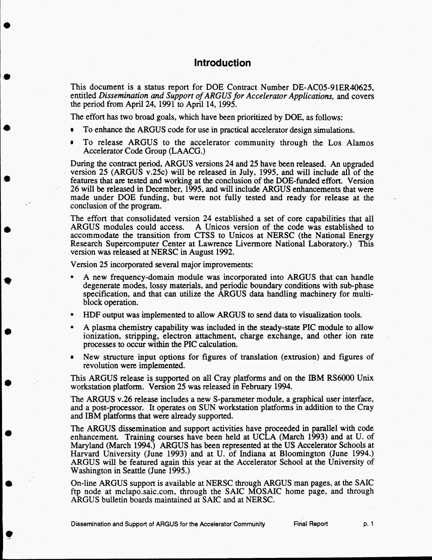 Dissemination and support of ARGUS for accelerator applications. Final report, April 24, 1991--April 14, 1995                                                                                                      [Sequence #]: 4 of 46