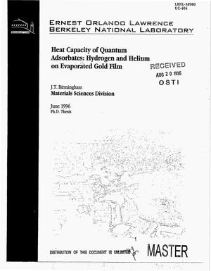 Primary view of object titled 'Heat capacity of quantum adsorbates: Hydrogen and helium on evaporated gold films'.