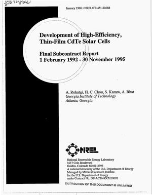 Primary view of object titled 'Development of high-efficiency, thin-film CdTe solar cells. Final subcontract report, 1 February 1992--30 November 1995'.