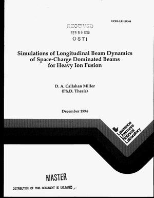 Primary view of object titled 'Simulations of longitudinal beam dynamics of space-charge dominated beams for heavy ion fusion'.
