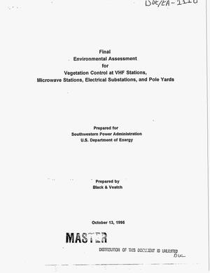 Primary view of object titled 'Final environmental assessment for vegetation control at VHF stations, microwave stations, electrical substations, and pole yards'.