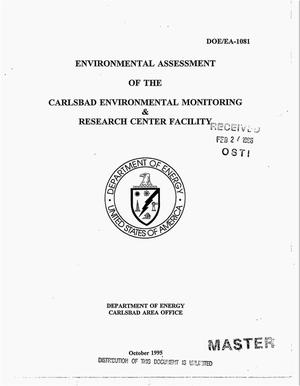 Primary view of object titled 'Environmental assessment of the Carlsbad Environmental Monitoring and Research Center Facility'.