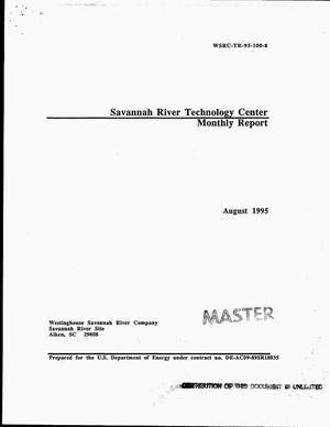 Primary view of object titled 'Savannah River Technology Center monthly report, August 1995'.