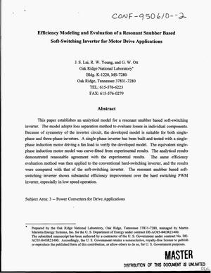 Primary view of object titled 'Efficiency modeling and evaluation of a resonant snubber based soft- switching inverter for motor drive applications'.
