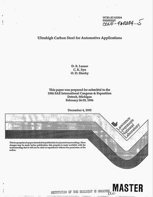 Primary view of object titled 'Ultrahigh carbon steel for automotive applications'.
