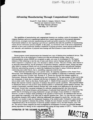 Primary view of object titled 'Advancing manufacturing through computational chemistry'.