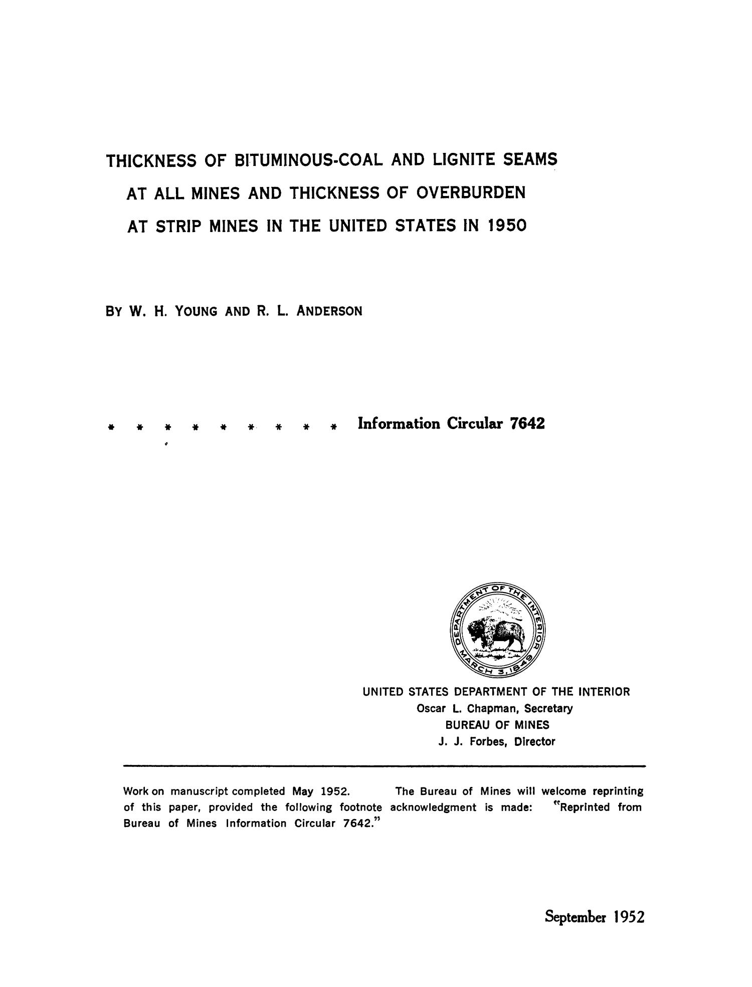 Thickness of Bituminous-Coal and Lignite Seams at All Mines and Thickness of Overburden at Strip Mines in the United States in 1950                                                                                                      Title Page