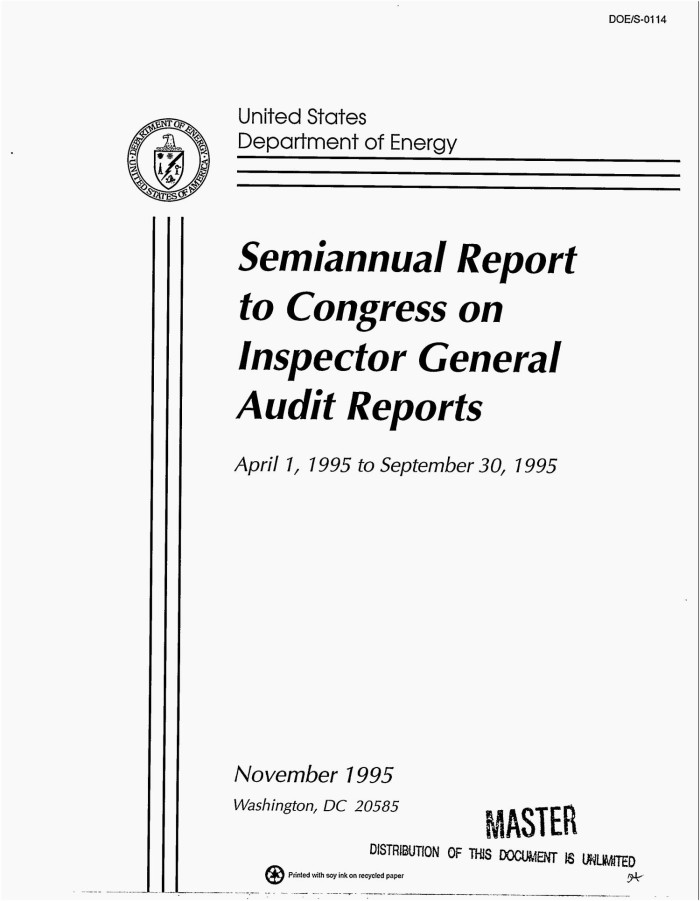 Primary View Of Object Titled U0027Semiannual Report To Congress On Inspector  General Audit Reports,