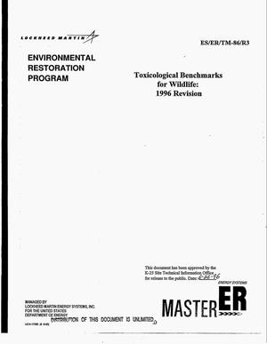 Primary view of object titled 'Toxicological benchmarks for wildlife: 1996 Revision'.