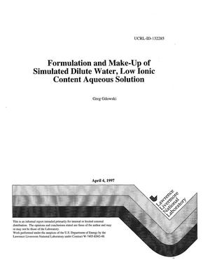Primary view of object titled 'Formulation and make-up of simulate dilute water, low ionic content aqueous solution'.