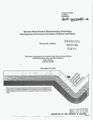 Primary view of object titled 'Electron beam related manufacturing technology development at Lawrence Livermore National Laboratory'.