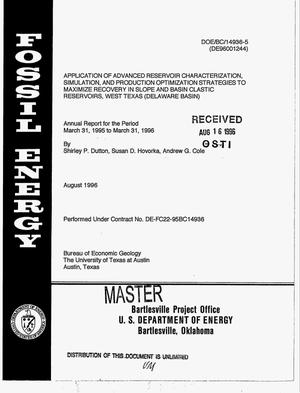Primary view of object titled 'Application of advanced reservoir characterization, simulation, and production optimization strategies to maximize recovery in slope and basin clastic reservoirs, west Texas (Delaware Basin). Annual progress report, March 31, 1995--March 31, 1996'.