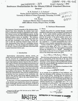 Primary view of object titled 'Emittance measurements for the Illinois/CEBAF polarized electron source'.