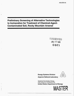 Primary view of object titled 'Preliminary screening of alternative technologies to incineration for treatment of chemical-agent-contaminated soil, Rocky Mountain Arsenal'.